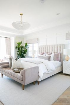 elegant master bedroom decor with pink velvet bench at end of bed neutral bedroom design neutral Master Bedroom decor with white walls white bedding nightstand decor and upholstered headboard traditional glam bedroom decor White Bedroom Decor, Home Decor Bedroom, Glam Bedroom, Feminine Bedroom, Girls Bedroom, White Decor, Bedroom With White Walls, Bedroom With Windows, Bedroom Curtains