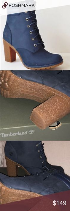 Navy Timberland Heels Brand new box included. 6 Inch Heels. Timberland Shoes Ankle Boots & Booties