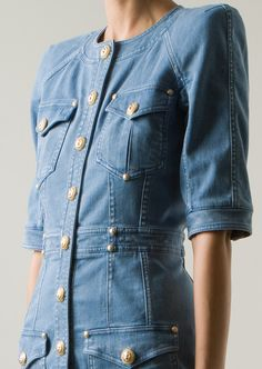 Balmain Blue Denim Dress in Blue | Lyst