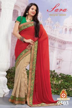 Red And Beige Faux Georgette Saree With Blouse- 9503  Now, place your Order now : whatsaap ↪ + 91- 9820936178 Email:- raksha@silk-india.com