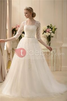Elaborate A-line Square 3/4-Length Sleeves Floor-length Court Beaded Wedding Dress : Tidebuy.com - For Nani modest wedding dress