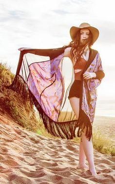 gorgeous silk fringe kimono