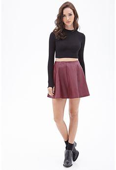 Faux Leather Skater Skirt   FOREVER 21 - 2000119406 $16