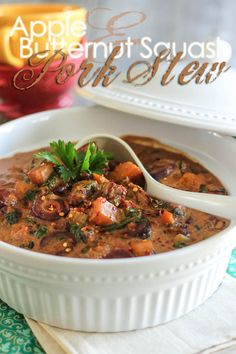 This sweet and tangy Apple and Butternut Squash Pork Stew is so deliciously warm and comforting, it will instantly make you feel good, inside AND out! Pork Recipes, Paleo Recipes, Real Food Recipes, Cooking Recipes, Pork Stew, Paleo Soup, Soup And Salad, Soups And Stews, Butternut Squash