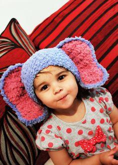 12 to 24m Baby Elephant Hat Crochet Elephant Ears by BabaMoon, $28.00