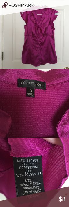 Maurices blouse silk Dark pink- worn one time Maurices Tops Blouses