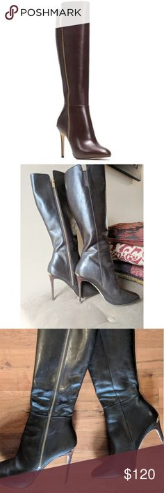 "Michael Kors Clara boot Beautiful Dark Chocolate leather boots by Michael Kors. Features gold zipper and heel plate. Outside zipper design. 4"" wooden heel. Butter soft leather interior. Size 6.5. Some normal wear and tear but are  in Good used condition. Michael Kors Shoes Heeled Boots"