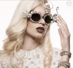 46bdc7fcfd41 Mercura NYC Sculpted pearl   wire art sunglasses Avari Magazine May 2015  styled by Lisa Smith Craig