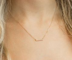 Small Diamond Bar Necklace, 14k Gold Fill Thin Chain, Mini Gold Bar Necklace, Dainty CZ Bar Layering Necklaces / Layered and Long, LN338