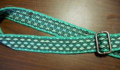 Wool Tablet Woven Viking Belt - Green, White, Blue and Brown viking tablet woven belt sca re-enactment
