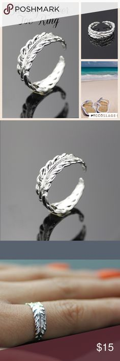 ⚡️Sterling Silver Leaf Toe Ring 925 Sterling Silver Adjustable Toe Ring - Can Also Be Used As A Finger Ring - Cute Leaf Design - Brand New In Package (No Tag) Boutique Jewelry Rings