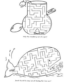 Free, printable mazes for kids are fun! Easy maze and hard mazes. Sunday School Lessons, Sunday School Crafts, Bible Activities, Activities For Kids, Mazes For Kids Printable, Kids Mazes, Free Printables, Idees Cate, Jonah And The Whale