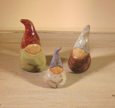 Adoorables Wee Gnome Family Set No.6 - Hand Molded Little Stoneware Gnome Sculptures - Speckled Brown Clay Miniature Pottery People. $19.60, via Etsy.