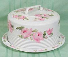 Vintage Shabby HP Roses Cake Carrier Cover Plate Chic   eBay