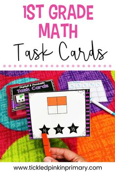 First Grade Task Cards (printable version) Geometry Activities, Kindergarten Activities, Math Skills, Reading Skills, 1st Grade Math, First Grade, Doubles Facts, Math Task Cards, Thing 1