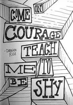 So come on courage,  teach me to be shy,  cause, its not hard to fall,  and i dont want to scare her  by Damien Rice
