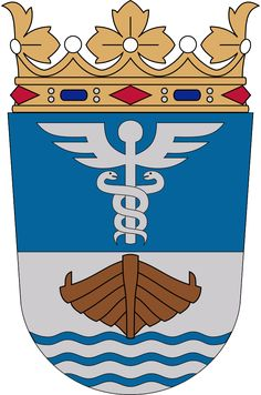 Caduceus on the coat of arms of Jyväskylä, Finland. High Middle Ages, City Logo, World Crafts, Education Logo, Mystery Of History, Family Crest, Woodland Party, Crests, Coat Of Arms