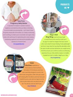 #Products we Love: #Gaia Pure #Pregnancy Belly Butter/ #Hug a Bub Ring Sling/ #TENS machine. As seen in #Empowering Birth Magazine CELEBRATION issue!