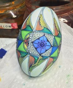 Goose egg fish/flower paradox tangle  work in progress. blending , shading and mixing colors
