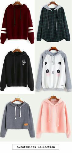Sweatshirt collection cute tees outfit, k divat, haspólók Komplette Outfits, Outfits For Teens, Winter Outfits, Summer Outfits, Casual Outfits, Fashion Outfits, Fashion Clothes, Casual Dresses, Summer Dresses