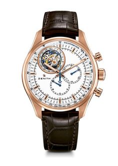 Zenith - El Primero Tourbillon - Rose gold watch with silver-toned dial and alligator leather strap. Tourbillon chronograph with unique patented date system.