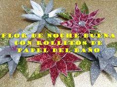 Flor de nochebuena con rollitos de papel del baño / Poinssetia out of to...