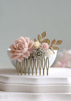 Romantic Grey Themed Wedding Ideas Grey Wedding Hairclip- Stay at Home Mum