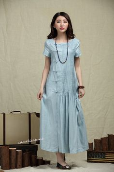 Maxi Bridesmaid Dress in Pale Blue, Long Linen Dress, Pleated Sundress, Evening Dress - Custom