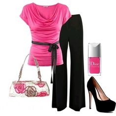Pink and black Outfit minus the tall shoes ....simple flats will do..
