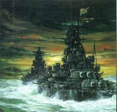 Battleships Kirishima and Hiei during the Naval Battle of Guadalcanal, November 1942 Imperial Japanese Navy, Electric Boat, Pearl Harbor Attack, Star Trek Ships, Navy Ships, Ship Art, Military Art, Battleship, World War Ii