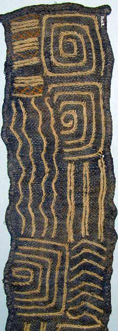 Africa | Textile detail from the Dumbi people of Kasai District, DR Congo | Fiber; embroidered