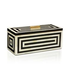 Baily Box : There's got to be a DIY version of this graphic  wood box! (Resin inlays with polished brass handle - Tory Burch Home Collection)