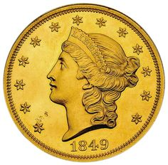 """Smithsonian's 1849-dated """"Double Eagle"""" 20 dollar denomination gold piece - Rarest US Coin worth $20,000,000.00 and still climbing.  It will be featured at the 2011 World's Fair of Money in Chicago."""