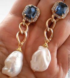 Купить Жемчужное ожерелье WINDSOR's (Серьги) с барочным жемчугом и топазами - колье, Колье с жемчугом