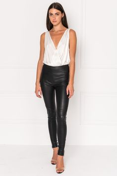 51be757fb6 AMA Black High Waist Stretch Leather Zip Up Leggings Sexy Leggings Outfit