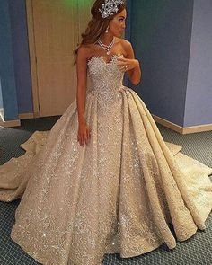 7be20c871c2 Luxurious Champagne Lace A-Line Court Train Bridal Dress