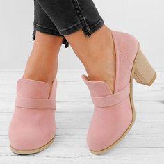 Women's Shoes,Boot,Women Solid Thick Heel Elegant High Heel Cute Work Slip-On Boots,Misslook Chunky Heel Shoes, High Heel Boots, Wedge Shoes, Heeled Boots, Shoe Boots, Women's Shoes, Nike Shoes, Shoes Sneakers, Dance Shoes