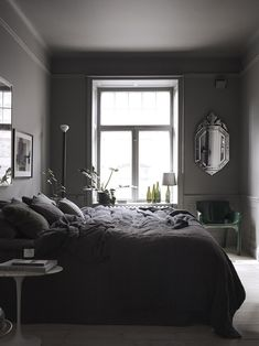 To inspire you, we share lots of awesome dark bedroom ideas that you can refer to! Pick the best dark bedroom that really suits your needs and taste now Dark Gray Bedroom, Black Bedroom Design, Modern Bedroom, Grey Bedrooms, Bedroom Classic, Contemporary Bedroom, Dream Bedroom, Bedroom Wall, Bedroom Decor