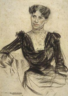 Portrait Of Pauleta Pamies by Ramon Casas i Carbó (Catalan/Spanish Fine Art Drawing, Life Drawing, Figure Drawing, Drawing Sketches, Spanish Painters, Spanish Artists, Art Nouveau, Ramones, Belle Epoque