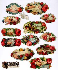 #Victorian #scrap #chromograph #lithograph #floral #birds #dove (victorian die cut of sentiments)