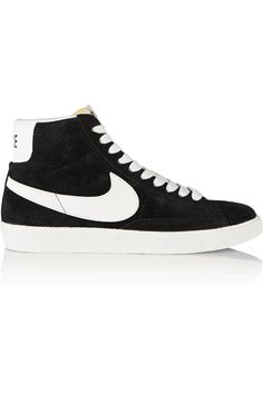Shop on-sale Nike Blazer perforated suede high-top sneakers. Browse other discount designer Sneakers & more on The Most Fashionable Fashion Outlet, THE OUTNET.COM Black Lace Up Flats, Black High Top Sneakers, Black Suede Shoes, Black High Tops, Best Sneakers, Sneakers Fashion, Sneakers Nike, Nike Trainers, Basketball Sneakers