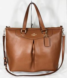 7679a55dacf3 Coach Crossgrain Leather Pleated Tote Shoulder Bag Satchel 34680 Saddle  Brown