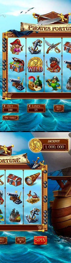 "Slot-Machine - ""pirate fortune"" on behance: gambling games, casino games Play Casino Games, Gambling Games, Pirate Images, Game Gui, Game Interface, Adventure Style, Las Vegas, Bingo Games, Game Item"