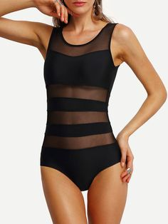 Mesh Panel Insert One-Piece Swimwear