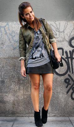 Black skirt + rock band tshirt