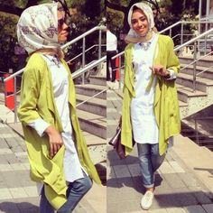 pop color cardigan,  Hulya Aslan hijab fashion looks http://www.justtrendygirls.com/hulya-aslan-hijab-fashion-looks/