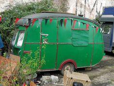 Green trailer.