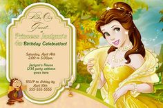 Beauty and the Beast Birthday Invitation - Belle invitation - with or without photo - Printable