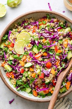 Crunchy Thai Quinoa Salad recipe features a colorful mix of veggies and tossed with a quick and easy creamy almond dressing for a delicious and addicting vegan lunch, dinner or meal prep! #healthyrecipes #veganrecipes #plantbased Healthy Salad Recipes, Whole Food Recipes, Vegetarian Recipes, Cooking Recipes, Vegetarian Options, Healthy Meals, Quinoa Chickpea Salad, Greek Quinoa Salad, Vegetarian Quinoa Salad