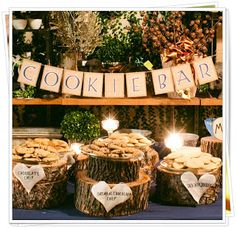 inexpensive dessert bar wedding - cookies instead of lollies. Could use any type of food to suit couple's personalities.